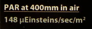 PAR at 400 nm in air LED light label